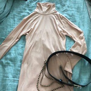 Turtleneck Knit Soft Dress Pink